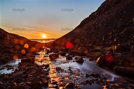 Sunset in the mountains, Iceland