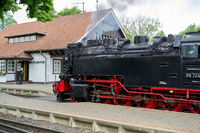 Locomotive and carriages of the Brockenbahn in Wernigerode in Germany