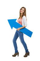 Woman with a blue arrow