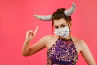 horns with mask