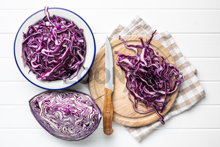 Sliced fresh red cabbage