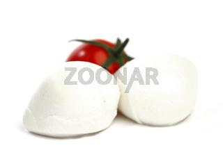 fresh italian  mozzarella on white background