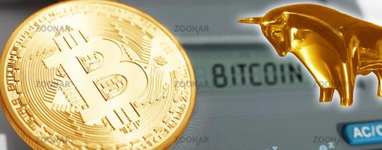 Bitcoin with bull. Virtual crypto currency coin. Blockchain technology.