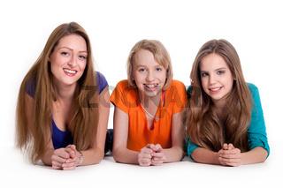 3 woman on white