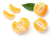 Peeled Mandarin Oranges Isolated On White Background