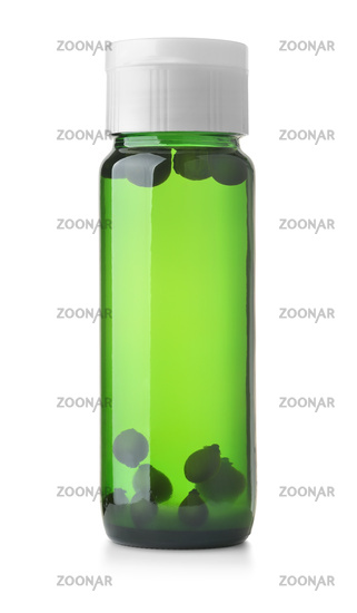 Front view of berries tincture green bottle