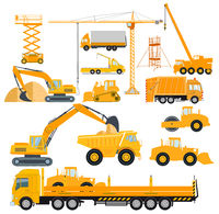 Set of construction machinery with excavators and heavy trucks