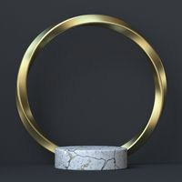 Abstract background twisted golden ring and white marble stage 3D