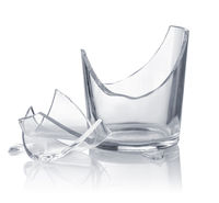 Empty broken drinking glass