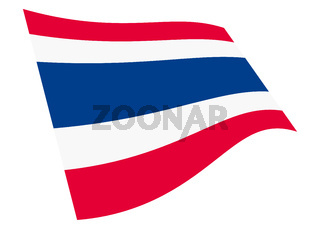 Thailand waving flag graphic isolated on white with clipping path 3d illustration