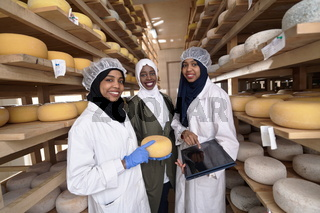 business woman team in local cheese production company