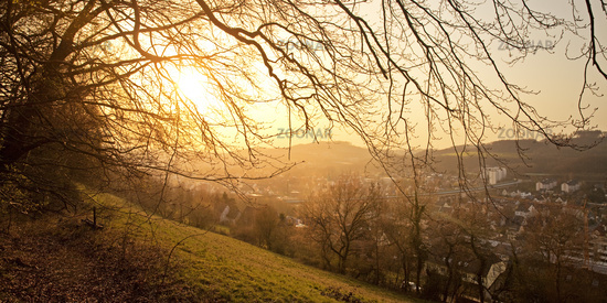 View of Letmathe at sunset, Iserlohn, Sauerland, North Rhine-Westphalia, Germany, Europe