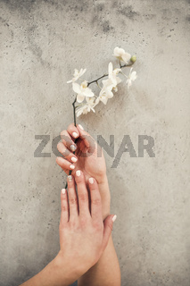 Woman with manicure and flower