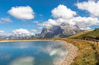 View over Seiser Alm, Alpe di Siusi, on Langkofel and Plattkofel mountain, South Tyrol