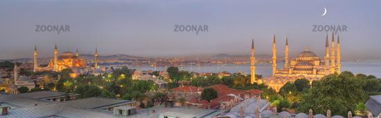 Panoramic image of Istanbul skyline at dusk istanbul turkey
