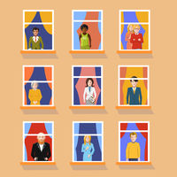 Set of different people in windows staying home on yellow background