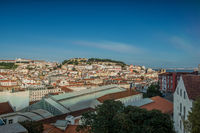 Lisbon, Portugal skyline towards Sao Jorge Castle.