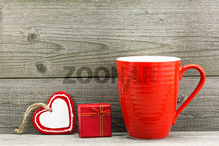 Gift boxes and red cup for Valentine's day