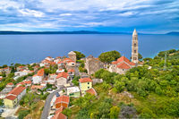 Igrane village on Makarska riviera tower and coastline view