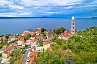 Igrane village on Makarska riviera tower and coastline view