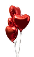 red big heart metallic balloons on white