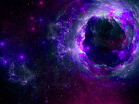 Abstract black hole - bright multicolor space background - digitally generated 3d illustration