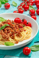 Spaghetti with tomato meat bolognese sauce.