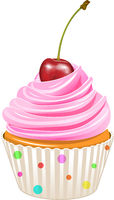 Cupcake with pink cream and cherry.eps