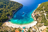 Korcula. Aerial view of Korcula island beach in Pupnatska Luka cove