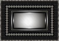 Silver frame with geometric ornament on black ba