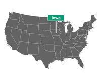 Iowa Ortsschild und Karte der USA - Iowa state limit sign and map of USA
