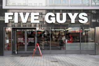 Five Guys fast casual burger restaurant in Hannover, Germany on March 2, 2020