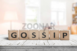 Gossip text sign in a bright living room