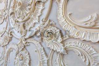Products of the gypsum stucco moulding plant. Moscow, Russia