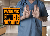 Pandemic sign warning of quarantine due to Covid-19 or corona virus refusing entry to hospital