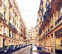 Watercolour Art Print, Travel in Europe Scene