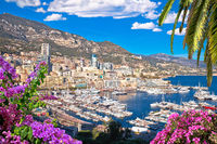 Monaco and Monte Carlo cityscape and harbor colorful view