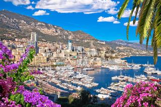 Monaco and Monte Carlo cityscape and harbor colorful view