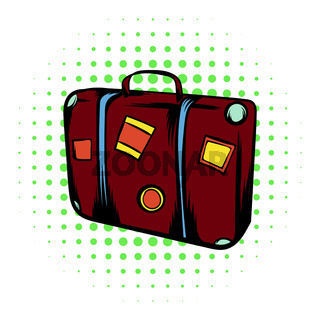 Brown travel suitcase comics icon