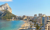 Calpe cityscape and sandy beach. Costa Blanca, Spain