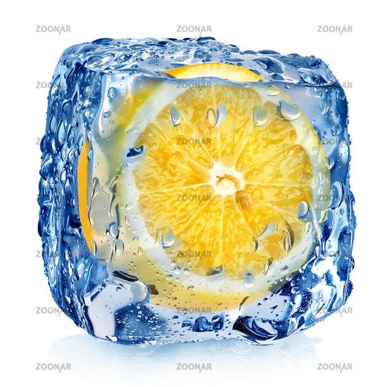 Lemon in ice cube