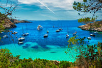 Sailboats at Cala Salada lagoon. Ibiza, Spain