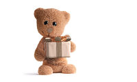 cute fluffy brown teddy bear with golden gift. concept of a present. 3d-illustration