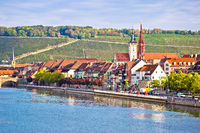 Old town of Wurzburg and Main river waterfront view