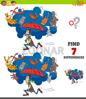 differences game with cats and dogs proverb cartoon
