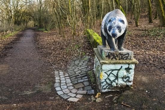 Bear sculpture in Volkspark Prenzlauer Berg, Berlin, Germany