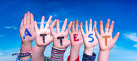 Children Hands Building Word Attest Means Attestation, Blue Sky