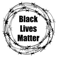 Black Lives Matter Banner with Barbed Wire for Protest Isolated on White Background