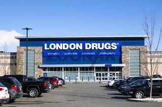 Calgary Alberta, Canada. Oct 17, 2020. London Drugs a Canadian retail store with headquarters in Richmond, British Columbia. Focus is on pharmaceuticals, electronics, housewares and cosmetics, with a limited selection of grocery items.