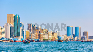 Dubai Creek and buildings in Deira district in Dubai